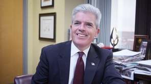 Suffolk County Executive Steve Bellone in his Hauppauge