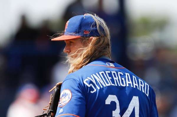 The wind blows New York Mets starting pitcher