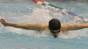 Ethan Tack of Half Hollow Hills swims the