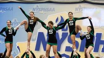 The Seaford cheerleading team compete in the NYSPHSAA