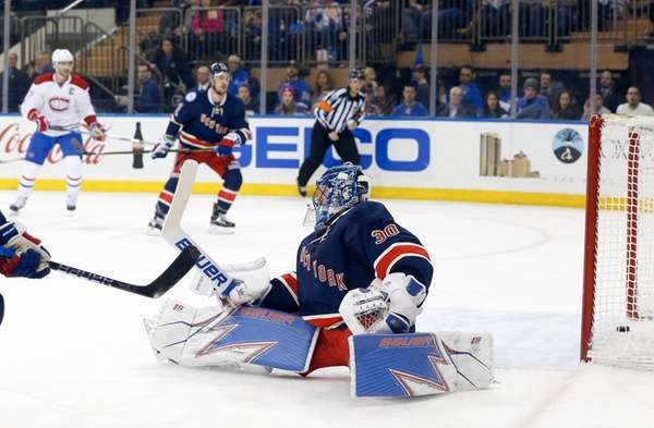 Henrik Lundqvist, #30, of the New York Rangers