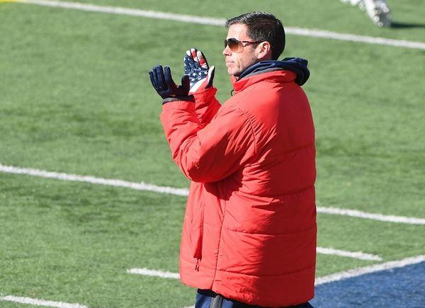Stony Brook head coach Joe Spallina reacts as