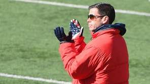 Stony Brook head coach Joe Spallina reacts as
