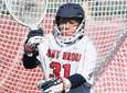 Stony Brook goalkeeper Anna Tesoriero defends the net
