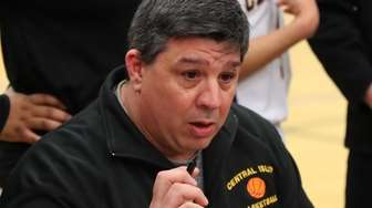 Central Islip head coach Paul Venturi talks to