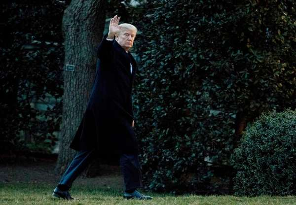 President Donald Trump arrives at the White House