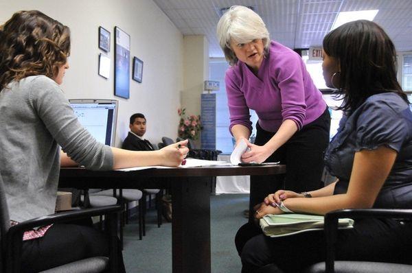 Housing educator Nicole Caminati, left, and head of