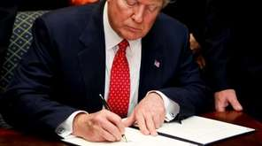 President Donald Trump signed a presidential proclamation on