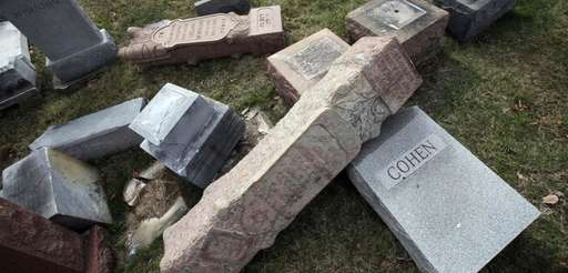 Headstones were toppled at Mount Carmel Cemetery, a