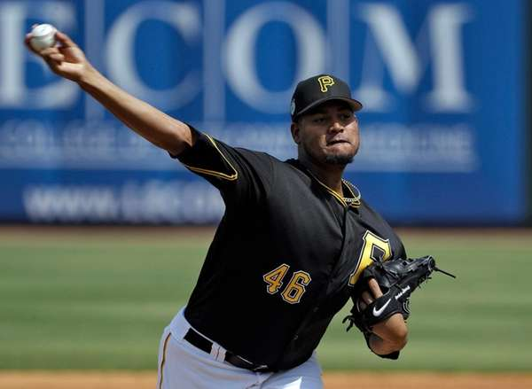 Pittsburgh Pirates' Ivan Nova pitches to the New