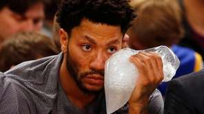 Derrick Rose of the New York Knicks sits
