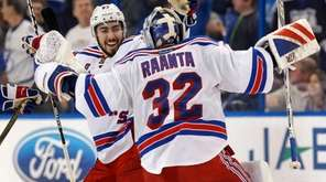 New York Rangers' Mika Zibanejad, left, of Sweden,