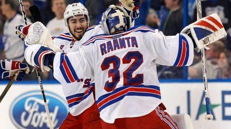 New York Rangers' Mika Zibanejad, left, of Sweden,