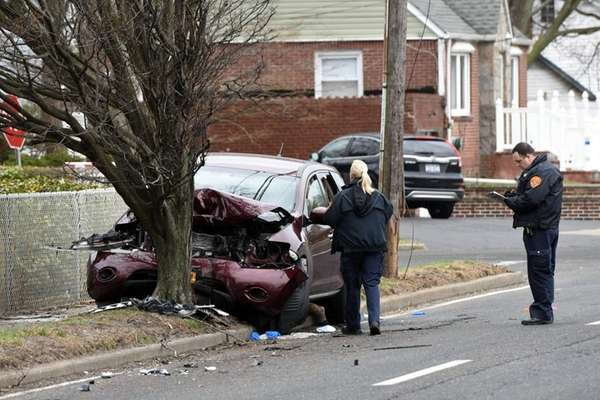 Suffolk County police are investigating a one-car crash