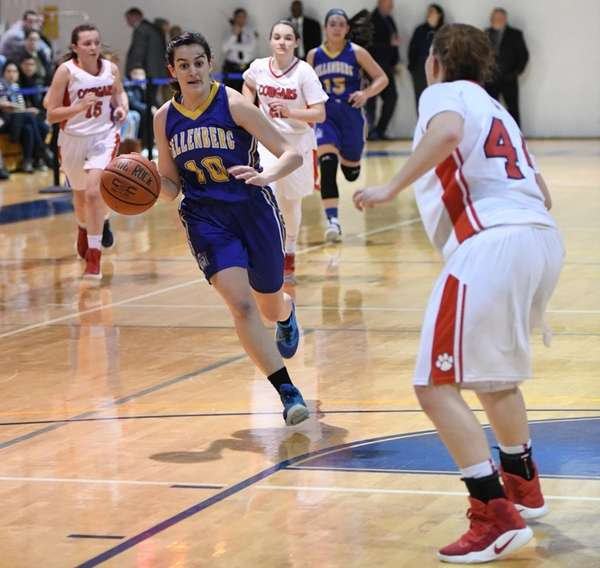 Kellenberg guard Clare Calabro drives the ball against