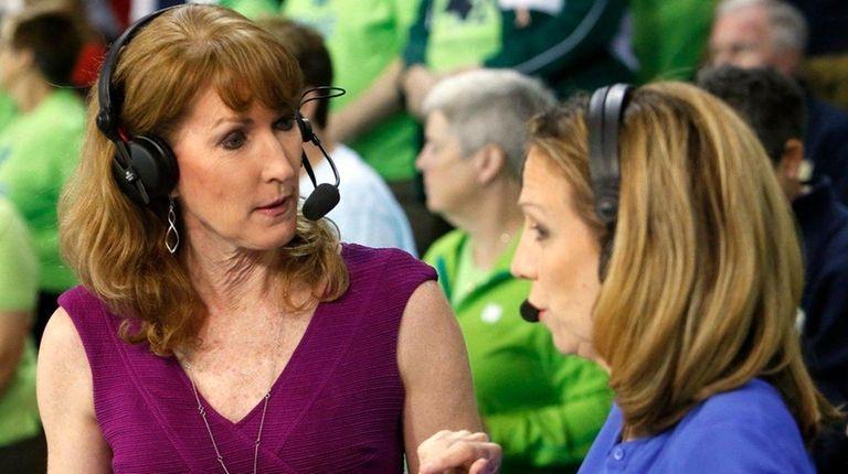 Debbie Antonelli, center, a women's college basketball analyst