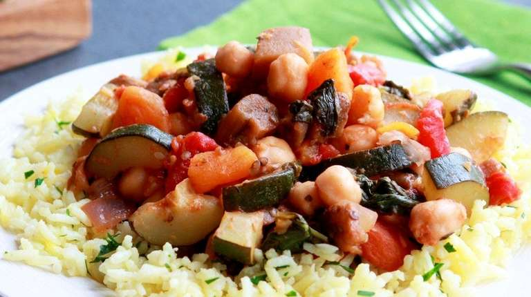 A vegetable ragout made with eggplant, zucchini, chickpeas,