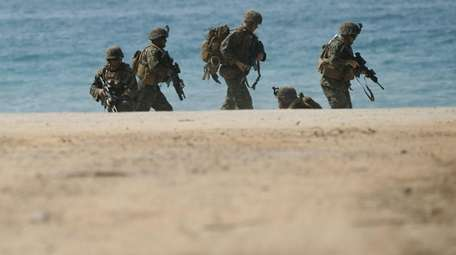 Marines during a joint military exercise at a