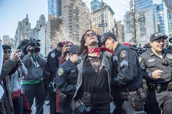 A woman is arrested in Manhattan's Columbus Circle