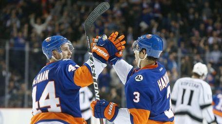 Travis Hamonic #3 of the New York Islanders