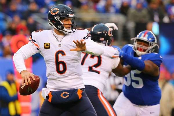 Jay Cutler of the Chicago Bears looks to