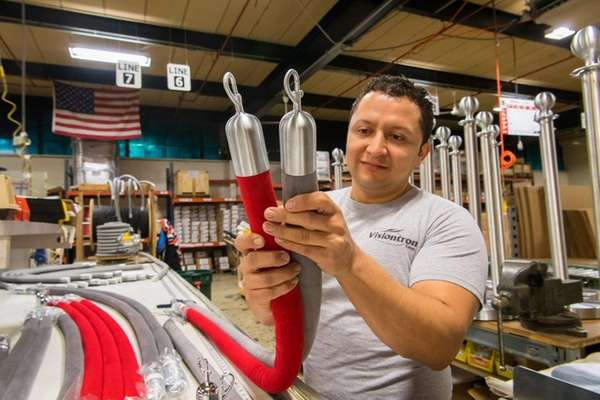 Francisco Nativi assembles velour traffic control rope at