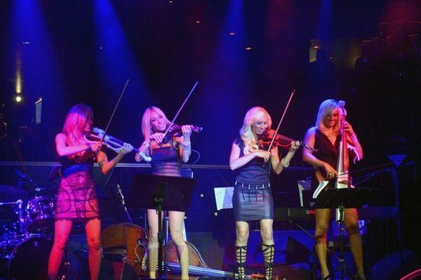 Bella Electric Strings, led by Nina DiGregorio, left,