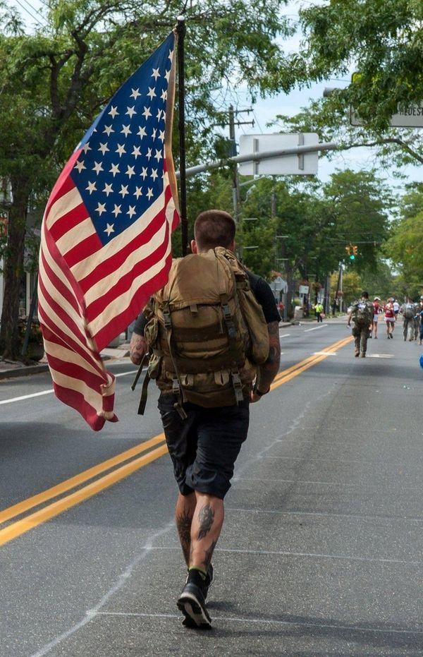 A U.S. Marine running in the Suffolk County
