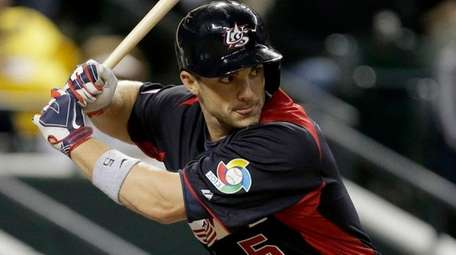 United States's David Wright bats during a World