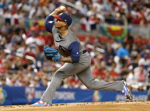 U.S. pitcher Marcus Stroman throws during the second
