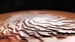 A perspective view of Mars' north polar ice