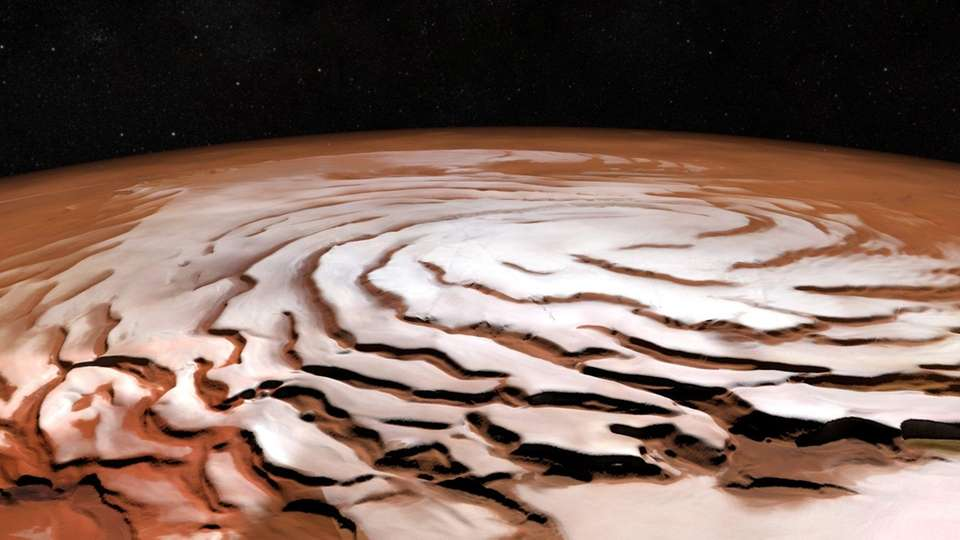 This view of Mars' north polar ice cap