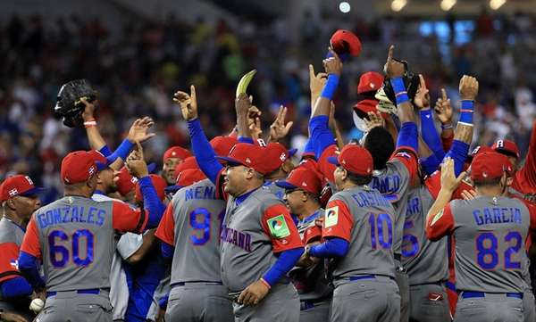 The Dominican Republic reacts to winning a Pool