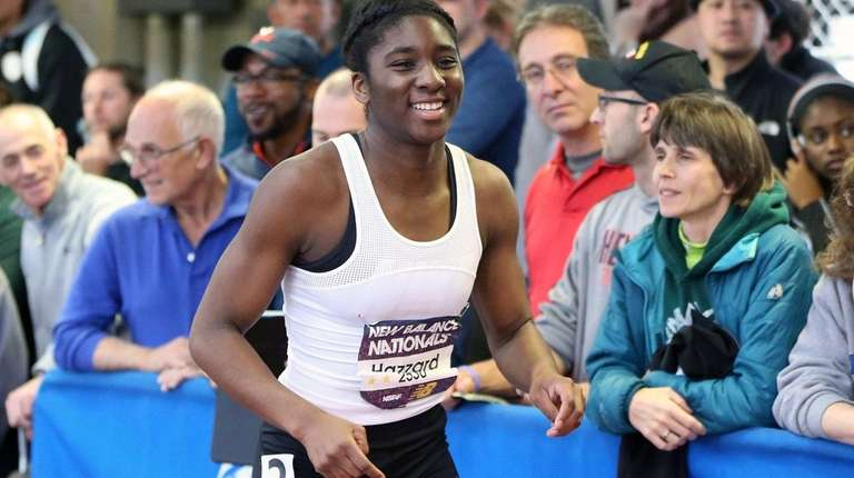 St. Anthony's Halle Hazzard smiles after finishing second