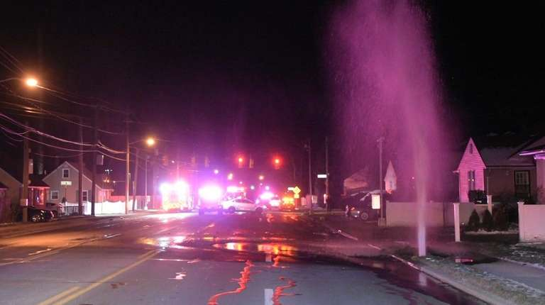A vehicle hit a fire hydrant Sunday night,