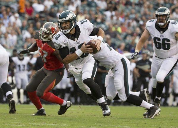 Chase Daniel of the Philadelphia Eagles runs for