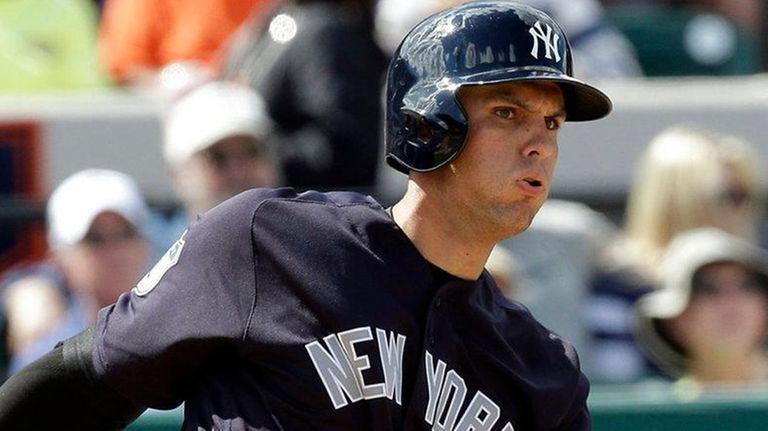 The Yankees' Greg Bird bats against the Detroit