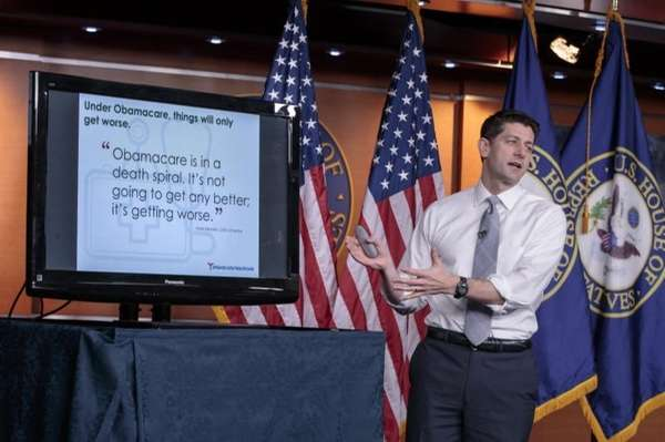 House Speaker Paul Ryan uses charts and graphs