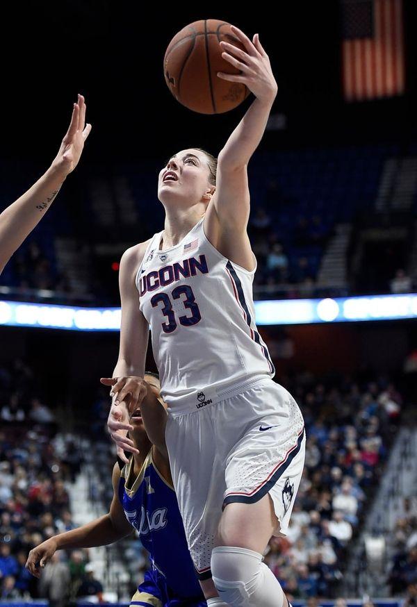 Connecticut's Katie Lou Samuelson shoots as Tulsa's Erika