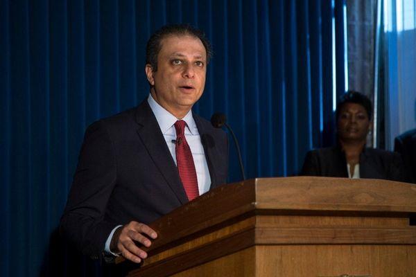 U.S. Attorney Preet Bharara speaks at a news