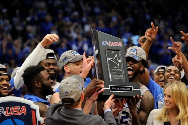 Middle Tennessee players celebrates their victory over Marshall
