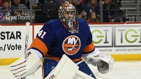 New York Islanders goalie Jaroslav Halak guards the