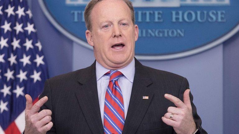 White House press secretary Sean Spicer speaks to