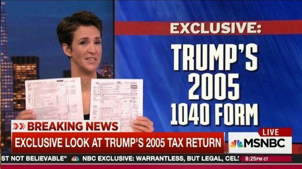 Rachel Maddow shares Donald Trump's 2005 tax return