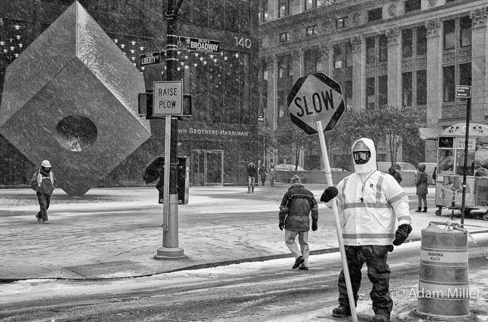 Today's snow blizzard on Broadway in Lower Manhattan