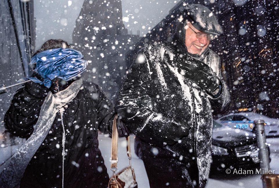 Today's snow blizzard on Broadway in Lower Manhattan