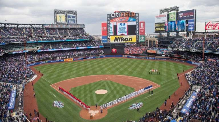 An aerial view of Citi Field on April