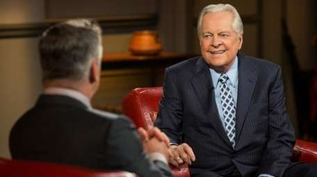 Robert Osborne, right, with Alec Baldwin on TCM's