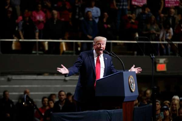 President Donald Trump at a rally Wednesday, March