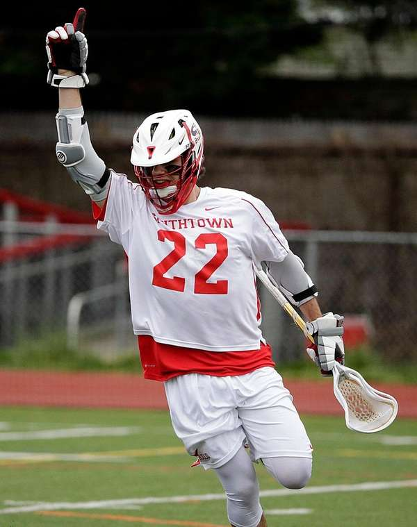 Smithtown East's Connor Desimone after scoring on Saturday,